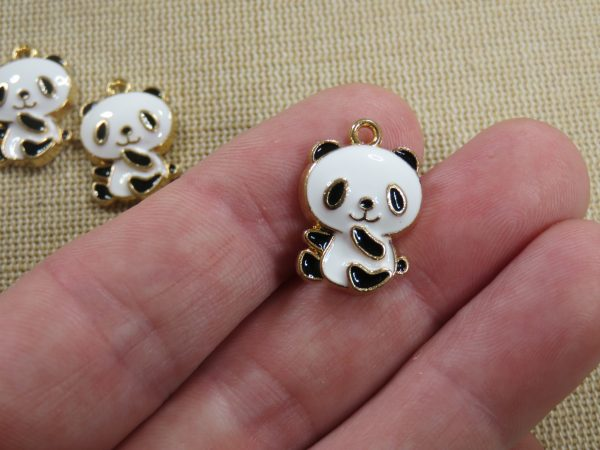 Pendentifs Panda métal émaillé breloque animal 21mm - lot de 5