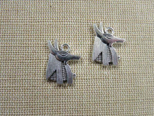 Pendentif Anubis argenté dieu égyptien 20mm - lot de 2