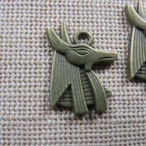 Pendentif Anubis bronze dieu égyptien 20mm – lot de 2
