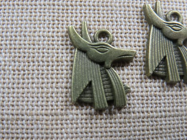 Pendentif Anubis bronze dieu égyptien 20mm - lot de 2