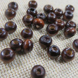 Perles rond plat en bois marron foncé 5mmx3mm – lot de 25