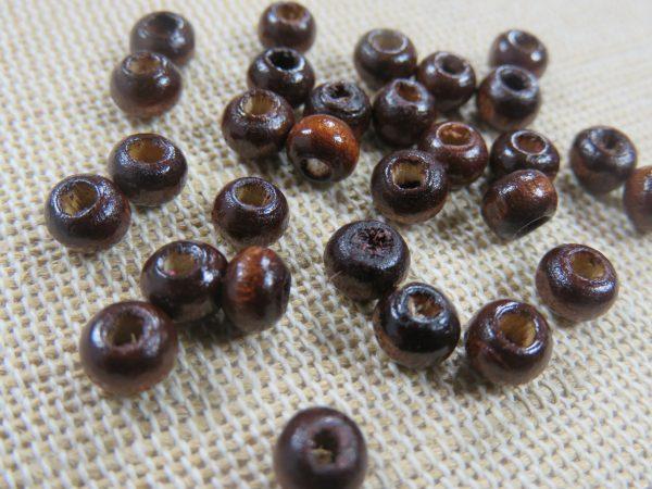 Perles rond plat en bois marron foncé 5mm x 3mm