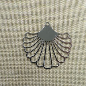 Pendentif éventail argenté filigrané en métal, création bijoux DIY
