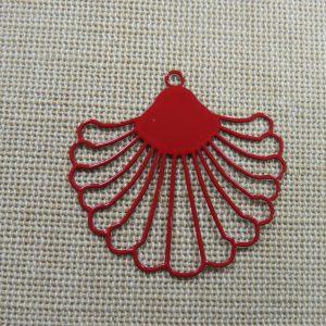 Pendentif éventail rouge filigrané en métal, création bijoux DIY