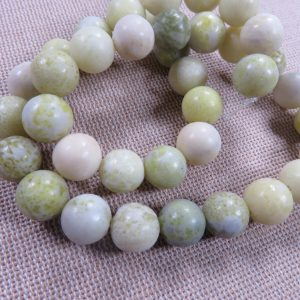 Perles jade vert olive 10mm ronde – lot de 10 pierre de gemme