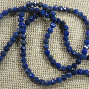 Perles Lapis lazuli 3mm bleu à facette, lot de 20 Pierre de gemme
