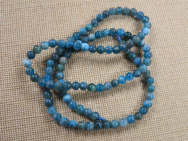 Perles Apatite 4mm ronde pierre de gemme - lot de 10