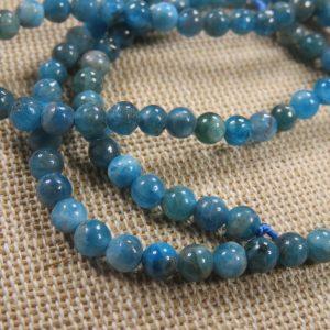 Perles Apatite 4mm ronde pierre de gemme – lot de 10