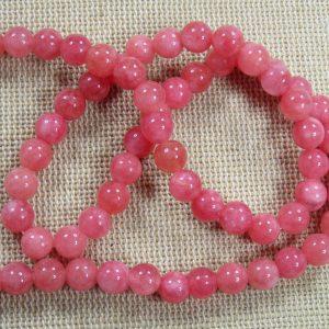 Perles calcédoine rose 6mm ronde – lot de 10 pierre de gemme