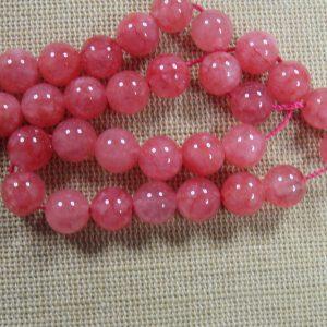 Perles calcédoine rose 8mm ronde – lot de 10 pierre de gemme