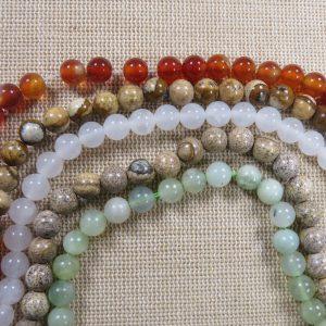 Perles Agate et Jade 6mm ronde – Mixte de 25 Pierre de gemme