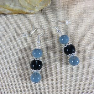 Boucles d'oreille perlé grise et bleu, bijoux femme bohème