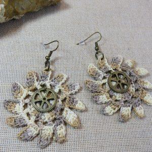 Boucles d'oreille Steampunk crocheté engrenage textile, bijoux femme