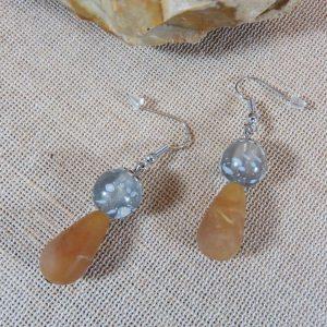 Boucles d'oreille perle marron et grise, bijoux femme