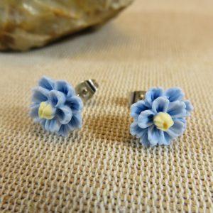 Puces d'oreilles fleur bleu, boucles d'oreille pour enfants, bijoux fille