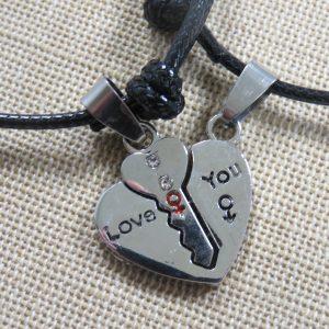 Bracelet Amoureux, bijoux de couple cœur et clé Love You
